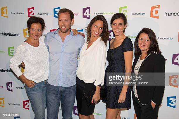 Nathalie Lebreton Vincent Bekaert Julia Vignali Carole Tolila and Elsa Grangier attend 'France Televisions' Photocall at Palais De Tokyo on August 26...