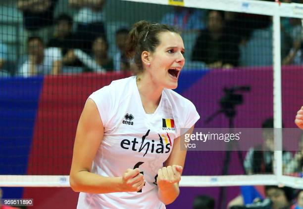 Nathalie Lemmens of Belgium celebrates a point against the Dominican Republic during the FIVB Volleyball Nations League 2018 at Beilun Gymnasium on...