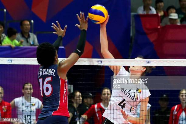 Nathalie Lemmens of Belgium competes against Yonkaira Paola Pena Isabel of the Dominican Republic during the FIVB Volleyball Nations League 2018 at...