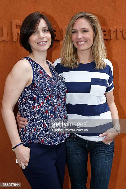 Nathalie Pechalat and actress Lilou Fogli attend Day Fifteen Men single's Final of the 2016 French Tennis Open at Roland Garros on June 5 2016 in...