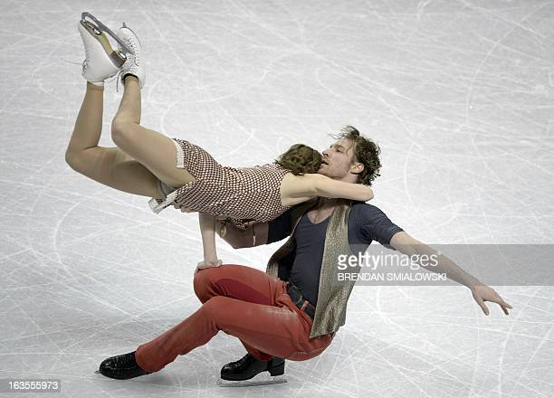 Nathalie Pechalat and Fabian Bourzat competing for France practice at Budweiser Gardens in preparation for the 2013 World Figure Skating...