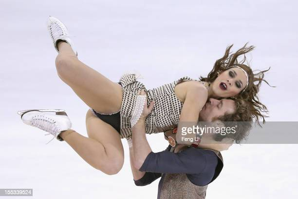 Nathalie Pechalat and Fabian Bourzat of France skate in Ice Dance Free Dance during Cup of China ISU Grand Prix of Figure Skating 2012 at the...