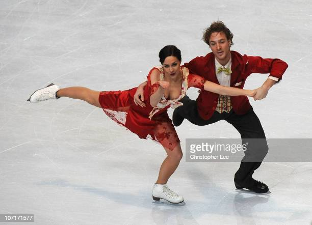 Nathalie Pechalat and Fabien Bourzat of France perform in the Ice Dance Free Dance during the ISU GP Trophee Eric Bompard 2010 at the Palais...