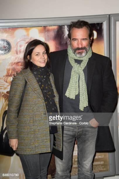Nathalie Pechalat and Jean Dujardin attend the 'Monsieur Madame Adelman' Paris Premiere at MK2 Bibliotheque Cinema on February 27 2017 in Paris France