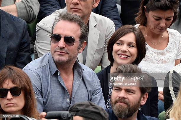 Nathalie Pechalat and Jean Dujardin during the day fifteen of the French Open 2016 at Roland Garros on June 5 2016 in Paris France