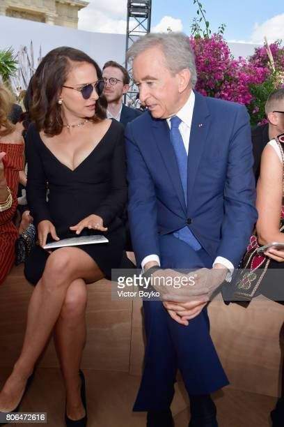 Nathalie Portman and Bernard Arnault attend the Christian Dior Haute Couture Fall/Winter 20172018 show as part of Haute Couture Paris Fashion Week on...
