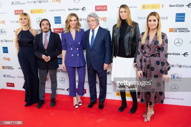 Nathalie Poza Ignacio Escuin Marta Hazas Enrique Cerezo and Ainhoa Arbizu attend the Jose Maria Forque awards 2019 finalists announcement at Dore...