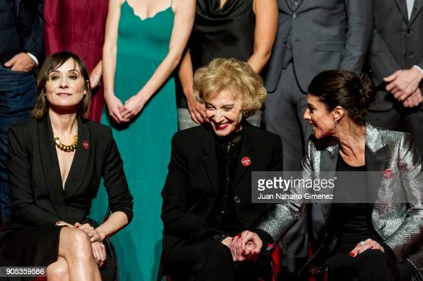 Nathalie Poza Marisa Paredes and Maribel Verdu attend the Goya cinema awards candidates 2018 meeting at Casa de Correos on January 15 2018 in Madrid...