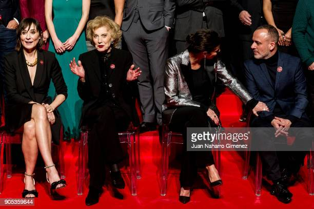 Nathalie Poza Marisa Paredes Maribel Verdu and Javier Gutierrez attend the Goya cinema awards candidates 2018 meeting at Casa de Correos on January...