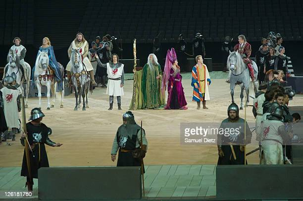 Nathalie Pujol as Guinevere Ludovic Gorva as King Arthur Gil Gesweiller as Merlin and Sophie Tellier as Morgan La Fay perform during the final...