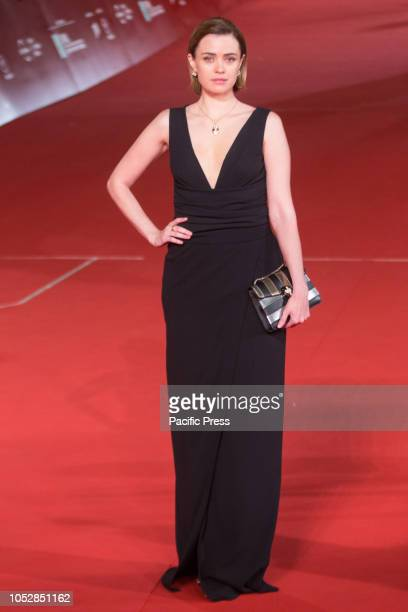 """Nathalie Rapti Gomez during the Red Carpet at the festival for film """"The House With a Clock in Its Walls""""."""