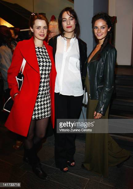 Nathalie Rapti Gomez, Guest and Katy Saunders attend the 'Diesel Together With Ducati' cocktail party on March 22, 2012 in Rome, Italy.