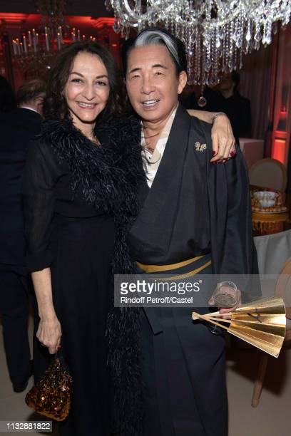 Nathalie Rykiel and Kenzo Takada attend the 80th Kenzo Takada Birthday Party at Pavillon Ledoyen on February 28 2019 in Paris France