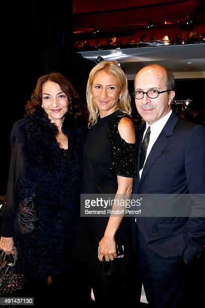 Nathalie Rykiel, her daughter Lola Burstein and CEO Sonia Rykiel, Jean-Marc Loubier attend the Sonia Rykiel show as part of the Paris Fashion Week...
