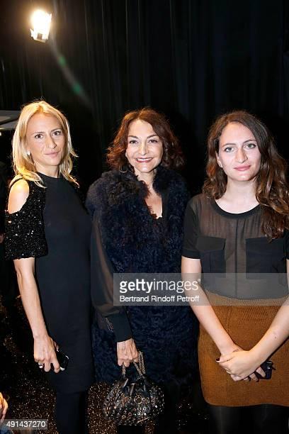 Nathalie Rykiel standing between her daughters Lola Burstein and Salome Burstein attend the Sonia Rykiel show as part of the Paris Fashion Week...