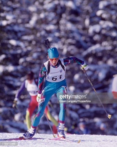 Nathalie Santer representing Italy in the women's 15 kilometre individual biathlon event during the 1994 Winter Olympics at the Birkebeineren Ski...