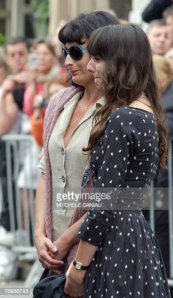 Nathalie Serrault and Gwendoline Courreges daughter and granddaughter of French actor Michel Serrault arrive 02 August 2007 in Honfleur Nomandy...
