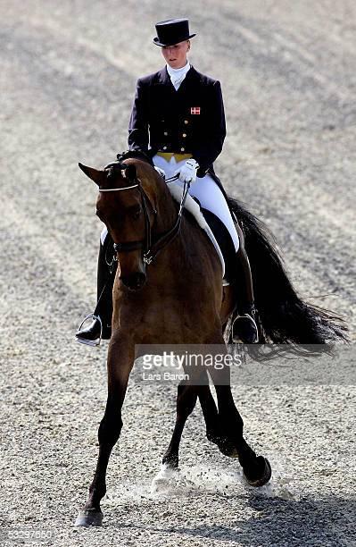 Nathalie zu SaynWittgenstein from Denmark rides her horse Rigoletto during the Dressage European Championships on July 28 2005 in Hagen Germany