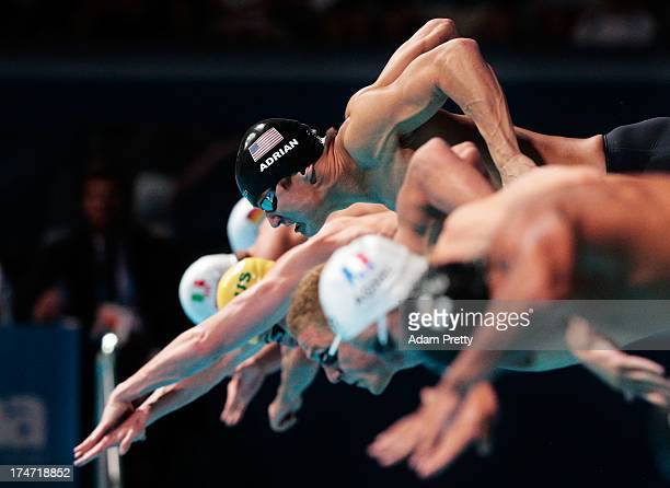 Nathan Adrian of the USA competes during the Swimming Men's 4x100m Freestyle on day nine of the 15th FINA World Championships at Palau Sant Jordi on...