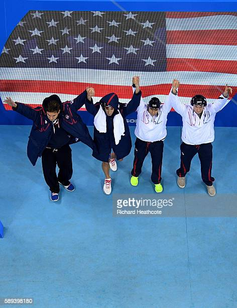 Nathan Adrian Ryan Murphy Michael Phelps and Cody Miller of the United States are greeted to the crowd before the Men's 4 x 100m Medley Relay Final...