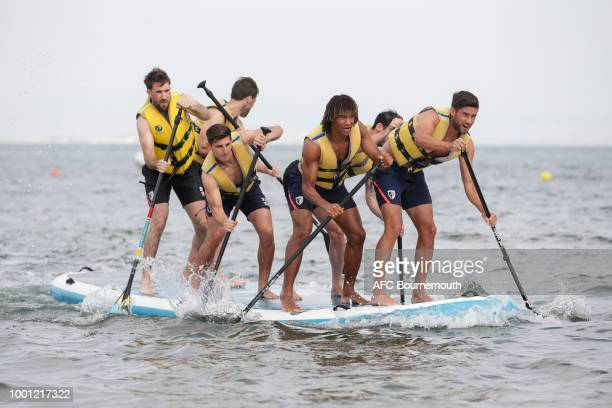 Nathan Ake and Andrew Surman of Bournemouth lead the way during preseason teambuilding exercise involving paddle boards on July 18 2018 in La Manga...