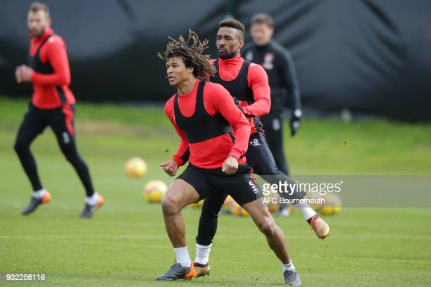 Nathan Ake and Jermain Defoe of Bournemouth during an AFC Bournemouth training session at Vitality Stadium on March 14 2018 in Bournemouth England