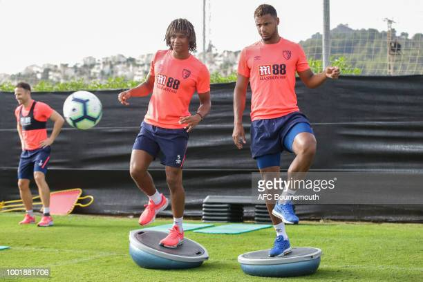 Nathan Ake and Lys Mousset of Bournemouth during preseason training on July 19 2018 in La Manga Spain