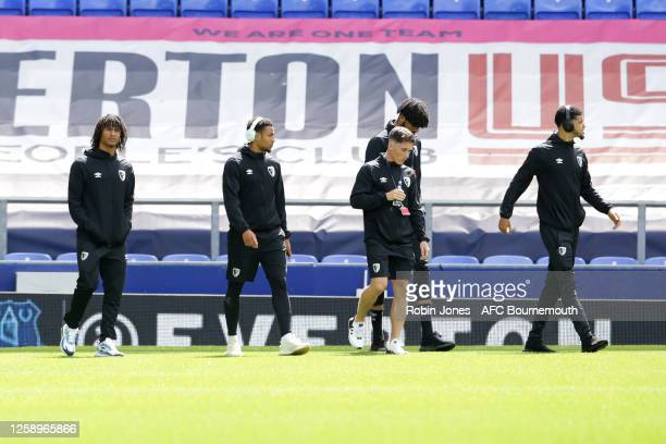 Nathan Ake Arnaut Danjuma Harry Wilson Philip Billing and Dominic Solanke of Bournemouth before the Premier League match between Everton FC and AFC...