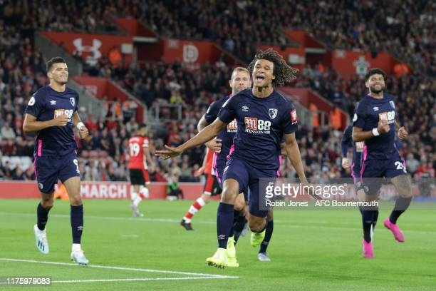 Nathan Ake celebrates after he scores a goal to make it 10 during the Premier League match between Southampton FC and AFC Bournemouth at St Mary's...