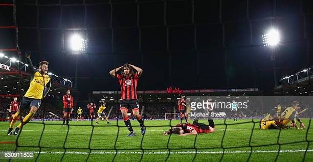 Nathan Ake of AFC Bournemouth after Olivier Giroud of Arsenal scoring the third goal during the Premier League match between AFC Bournemouth and...