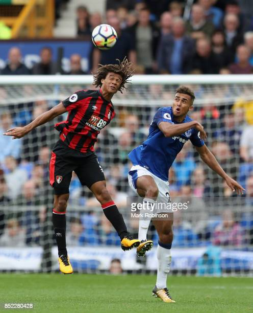 Nathan Ake of AFC Bournemouth and Dominic CalvertLewin of Everton compete for the ball during the Premier League match between Everton and AFC...