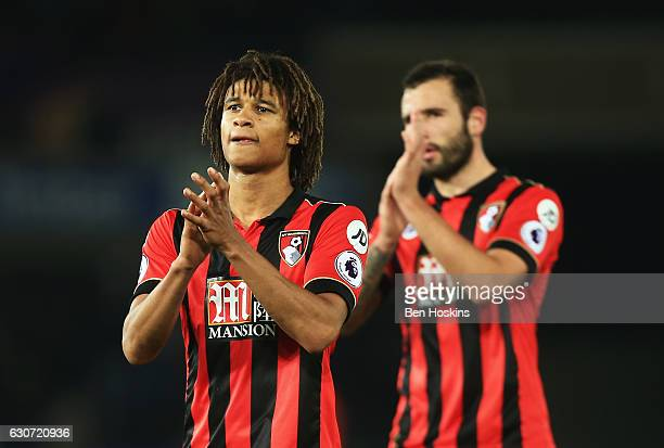 Nathan Ake of AFC Bournemouth applauds supporters after the Premier League match between Swansea City and AFC Bournemouth at Liberty Stadium on...