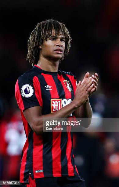 Nathan Ake of AFC Bournemouth applauds the fans after the Premier League match between AFC Bournemouth and Brighton and Hove Albion at Vitality...