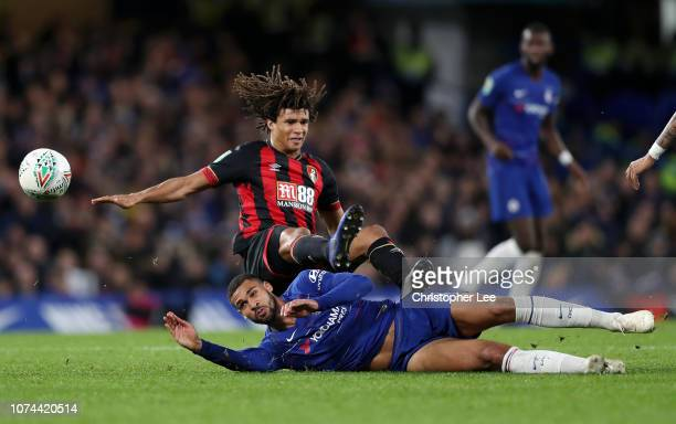 Nathan Ake of AFC Bournemouth battles for possession with Ruben LoftusCheek of Chelsea during the Carabao Cup Quarter Final match between Chelsea and...