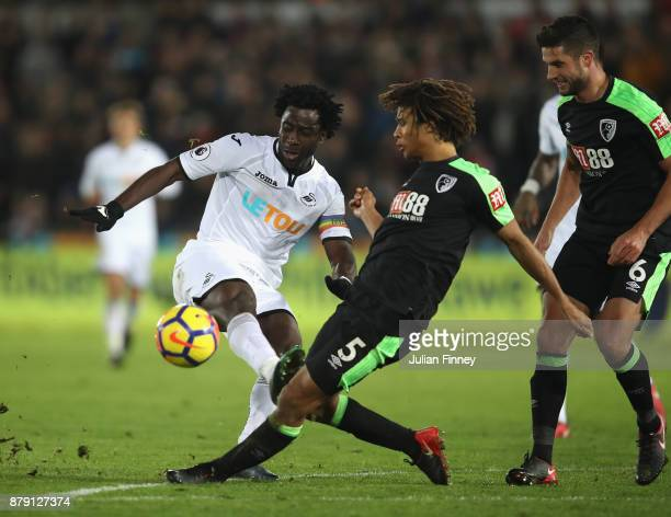 Nathan Ake of AFC Bournemouth blocks Wilfried Bony of Swansea City shot during the Premier League match between Swansea City and AFC Bournemouth at...