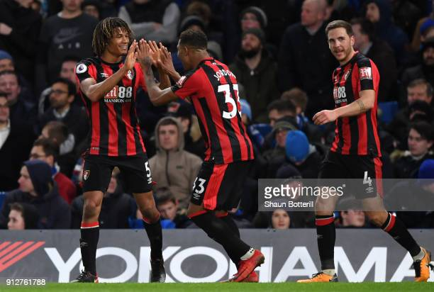 Nathan Ake of AFC Bournemouth celebrates after scoring his sides third goal with Jordon Ibe of AFC Bournemouth during the Premier League match...