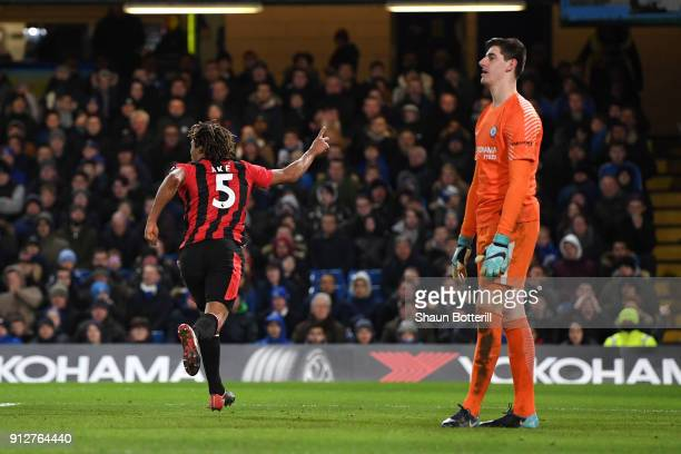 Nathan Ake of AFC Bournemouth celebrates after scoring his sides third goal during the Premier League match between Chelsea and AFC Bournemouth at...