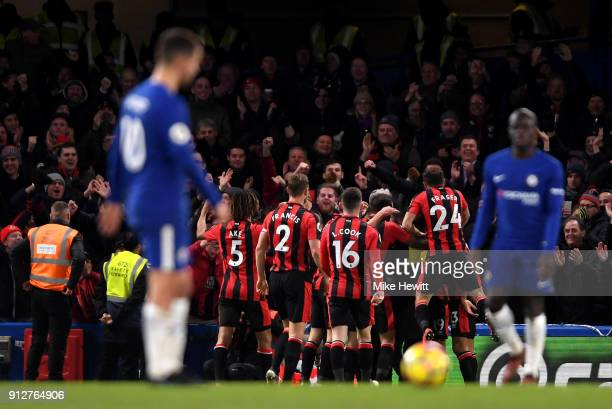 Nathan Ake of AFC Bournemouth celebrates after scoring his sides third goal with his AFC Bournemouth team during the Premier League match between...
