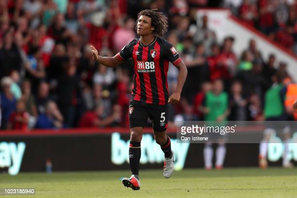 Nathan Ake of AFC Bournemouth celebrates after scoring his team's second goal during the Premier League match between AFC Bournemouth and Everton FC...