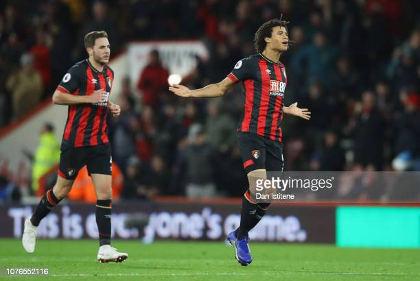 Nathan Ake of AFC Bournemouth celebrates after scoring his team's first goal with Dan Gosling during the Premier League match between AFC Bournemouth...