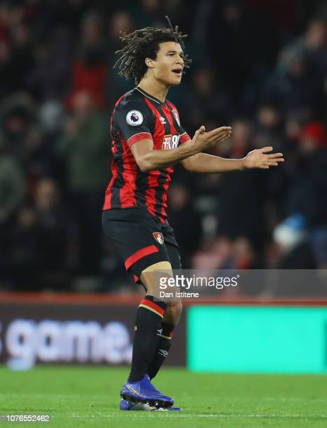 Nathan Ake of AFC Bournemouth celebrates after scoring his team's first goal during the Premier League match between AFC Bournemouth and Watford FC...