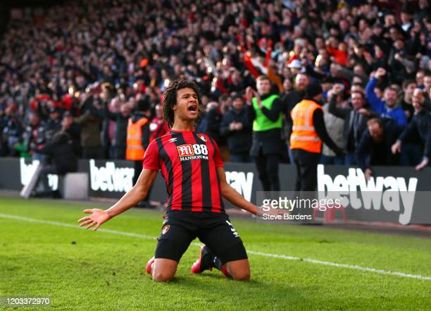 Nathan Ake of AFC Bournemouth celebrates after scoring his team's second goal during the Premier League match between AFC Bournemouth and Aston Villa...