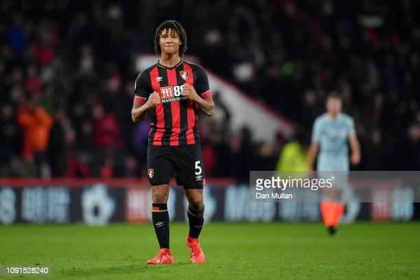 Nathan Ake of AFC Bournemouth celebrates after the Premier League match between AFC Bournemouth and Chelsea FC at Vitality Stadium on January 29 2019...