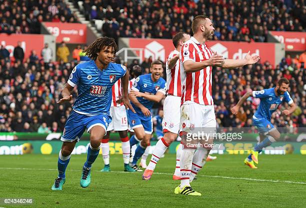 Nathan Ake of AFC Bournemouth celebrates scoring his sides first goal during the Premier League match between Stoke City and AFC Bournemouth at...