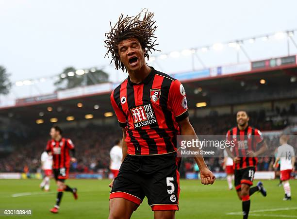 Nathan Ake of AFC Bournemouth celebrates scoring his sides first goal during the Premier League match between AFC Bournemouth and Southampton at...