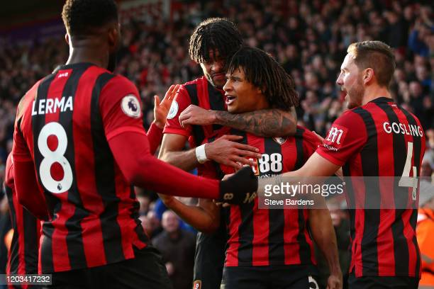 Nathan Ake of AFC Bournemouth celebrates with his team mates after scoring his team's second goal during the Premier League match between AFC...