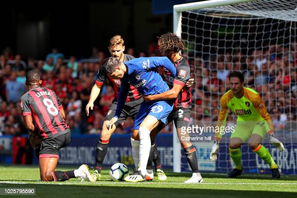 Nathan Ake of AFC Bournemouth challenges Alvaro Morata of Chelsea during the Premier League match between Chelsea FC and AFC Bournemouth at Stamford...