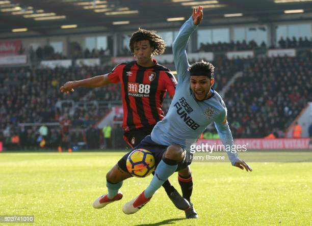 Nathan Ake of AFC Bournemouth chases down Deandre Yedlin of Newcastle United during the Premier League match between AFC Bournemouth and Newcastle...
