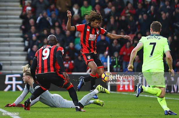 Nathan Ake of AFC Bournemouth controls the ball as he scores their fourth goal during the Premier League match between AFC Bournemouth and Liverpool...