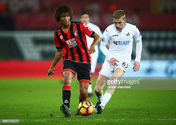 Nathan Ake of AFC Bournemouth in action during the Premier League match between Swansea City and AFC Bournemouth at Liberty Stadium on December 31...